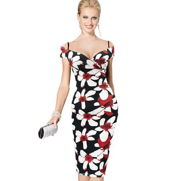 Vfemage Womens Sexy V-Neck Strap Elegant Off Shoulder Floral Print Knee Midi Casual Party Club Evening Formal Bodycon Dress 2029