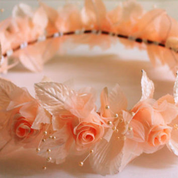 Orange Flower Crown, Flower Wreath, Wedding Floral Headpiece, Flower Girl Headpiece, Birthday Tiara, Quincenera Crown, Coachella Headband