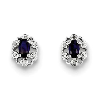 Sterling Silver Created Blue Sapphire & Diamond Earrings