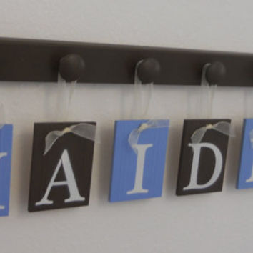 Children Room Decor Set Includes Wooden 6 Pegs and Kids Name for HAIDER Painted Light Blue and Brown Decorating Ideas for Baby Boy Nursery
