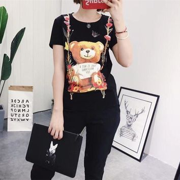 Moschino Women Fashion Cute Cartoon Flower Bear Print Short Sleeve Cotton T-shirt Top Tee