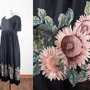 1990s Soft Grunge Dress / Sunflower Print 90s Dress / Floral Print Festival Dress / Boho Maxi Dress / 90s Sunflower Dress / 90s Grunge Dress
