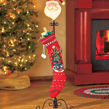 Free Standing Santa Christmas Stocking Holder Hanger Scrolled Metal Stand