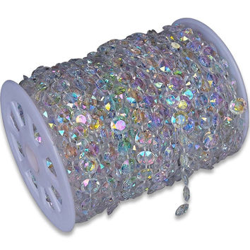 30m DIY Iridescent Garland Diamond Acrylic Crystal Beads Strand Shimmer Wedding decoration free shipping