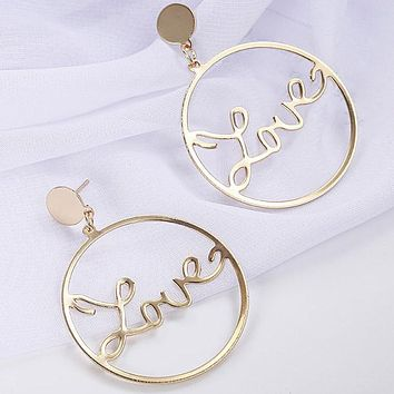Statement Love Letter Large Hoop Earrings For Women Simple Gold Silver Color Punk Big Circle Earrings Fashion Jewelry