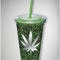 Green Glitter Leaf Cup with Straw - Spencer's