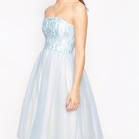 John Zack Petite Bandeau Midi Prom Dress With Tulle Skirt at asos.com