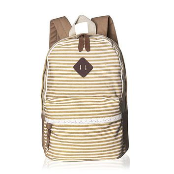 Classical Stripe Lace Canvas Backpack