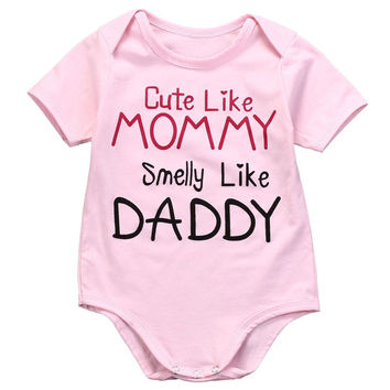Baby Girl ( Cute Like Mommy, Smelly Like Daddy ) Funny Romper Onesuit