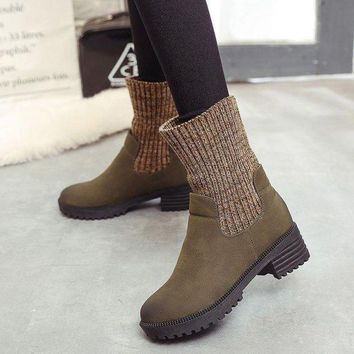 ac ICIK83Q On Sale Hot Deal Vintage Dr. Martens Winter Knit Patchwork Casual Boots [107636785177]