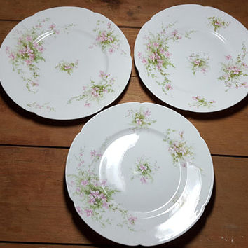 Shabby Pink Violets Plates Haviland Limoges Cottage Chic Farmhouse Set of 3