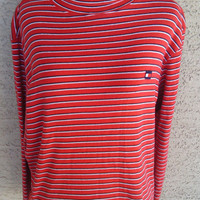 Tommy Hilfiger Vintage red and blue strips turtleneck Xlarge cotton red navy blue white strips