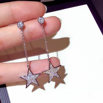 Women Temperament Simple Fashion Zircon Five-pointed Star Pendant Silver Needle Earring