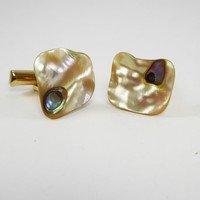 Unique Mother of Pearl Shell Cufflinks w Abalone Dots Mid Century Modern Vintage 1940's 1950's Mens Accessories and Jewelry Gift for Him