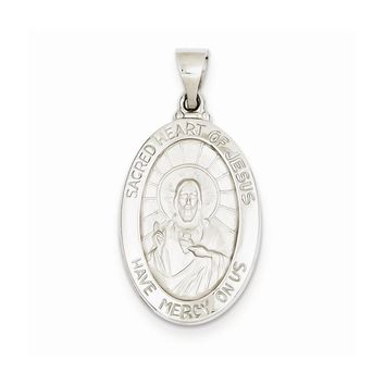 14k White or Yellow Gold Polished and Satin Sacred Heart of Jesus Medal Pendant