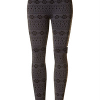 Fleece Lined Snowflake Printed Leggings - Charcoal & Black