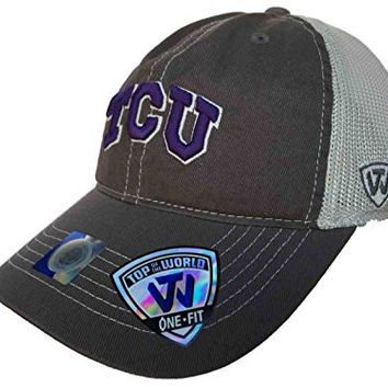 TCU Horned Frogs TOW Gray Putty Two Tone Mesh One Fit Flexfit Hat Cap