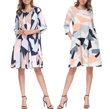 Spring Women Sexy Evening Party Dresses Girls Long Sleeve Print Elegant Long Sleeve V-neck OL Dress