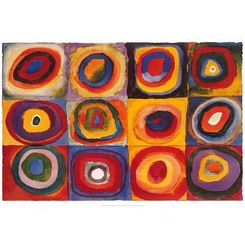Wassily Kandinsky Squares with Concentric Circles Poster 24x36