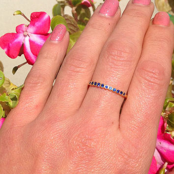 20% off-SALE!! Blue Sapphire Ring - September Ring  - Stack Ring - Gold Ring - Dainty Ring - Royal Blue Ring - Half Eternity Ring