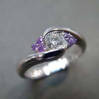 Diamonds Wedding Ring With Amethyst In 14K White Gold | Luulla