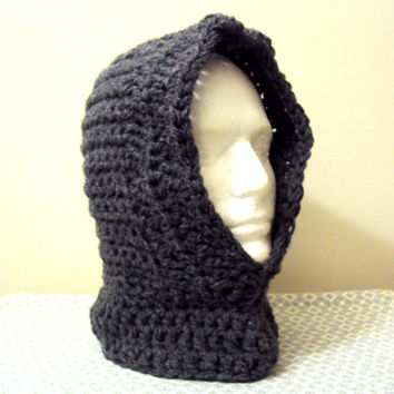 Babies  Crochet Hoodie Hooded Cowl Scarf Scoodie Charcoal Grey Gamer Hood Winter Earwarmer Snowboard Hat Neckwarmer Infant and Toddler Size