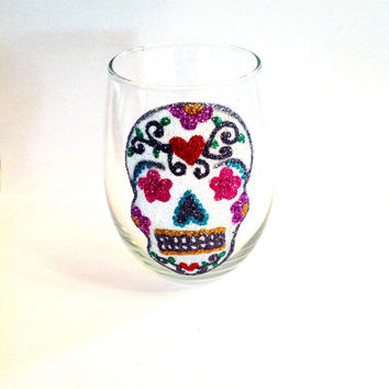 Glitter skull wine glass stemless