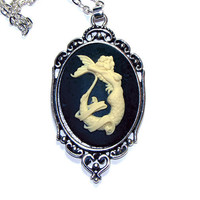 Mermaid Cameo Necklace - 40x30mm Cameo - Tattoo Style Pinup Mermaid