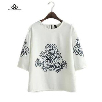LMFUS4 2015 summer autumn new vintage ethnic black baroque floral placement print half sleeve white pullover blouse shirt