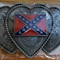 Triple Heart Confederate Belt Buckle