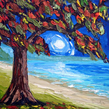 Landscape Tree Oil Painting in Palette Knife Style: Autumn in the Moonlight