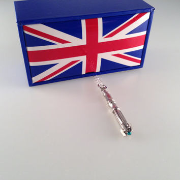 Exclusive Doctor Who 11th Doctor Sonic Screwdriver Charmed Interpreted Necklace in a UK Union Jack Box