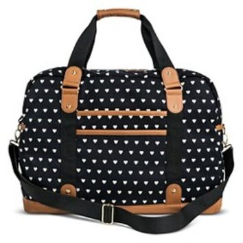 Women's Heart Print Weekender Handbag - Black: Target
