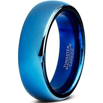 OASIS Blue Tungsten Carbide Wedding Band Domed Highly Polished 7mm