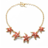 Starfish Statement Necklace,Cute Star Charm Choker Necklace,Fashion Necklace for Girls,Women