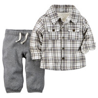 2-Piece Sherpa-Lined Flannel Top & Terry Pant Set