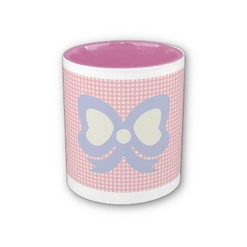 KAWAII POLKADOTS and ribbon PASTEL pink purple Coffee Mug from Zazzle.com