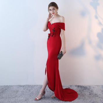 Boat Neck Mermaid  Beading Formal Dresses Floor Length Trumpet
