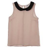 Teens Pink Contrast Collar Shell Top