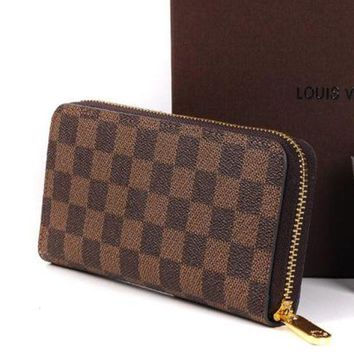 LV Louis Vuitton 2018 Trendy Women's High Quality Leather Zipper Wallet F Coffee+Tartan