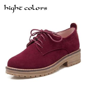 New Women Flats Retro Suede Leather Lace Up Oxford Shoes For Women Fashion Flat Heel Classic College Casual Women Shoes