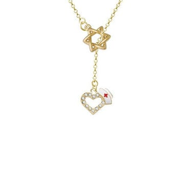 Small Gold Tone Crystal Heart with Nurse Hat Gold Tone Star of David Lariat Necklace