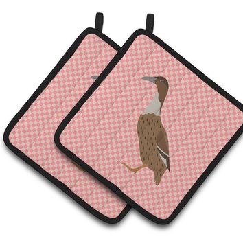 Dutch Hook Bill Duck Pink Check Pair of Pot Holders BB7861PTHD