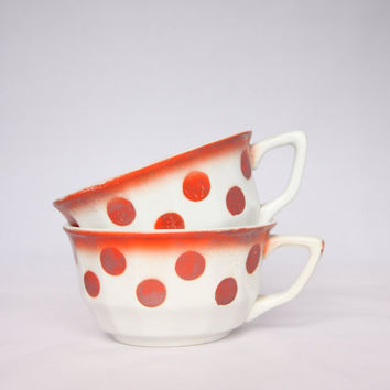 Vintage orange / red polka dot coffee cups, French home decor