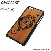 Compass Wood Case For Iphone 5C Case