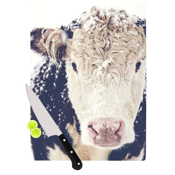 "Debbra Obertanec ""Snowy Cow"" Black White Cutting Board"