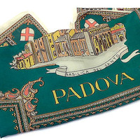 Vintage Italian Souvenir Scarf . Padova, Italy . Green and Gold Square Scarf . Tourist Scarf . Travel Scarf .