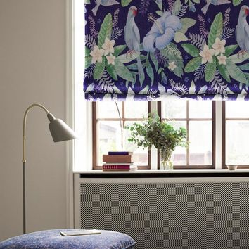 Quick Fix Washable Roman Window Shades Flat Fold, Parrot and Flower