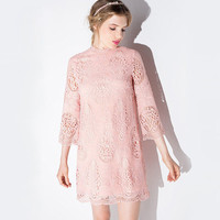 Pink Crochet Lace Shift Dress