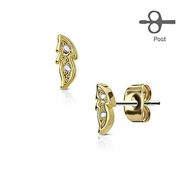 Pair of CZ Paved Small Leaf 316L Surgical Steel Post WildKlass Earring Studs